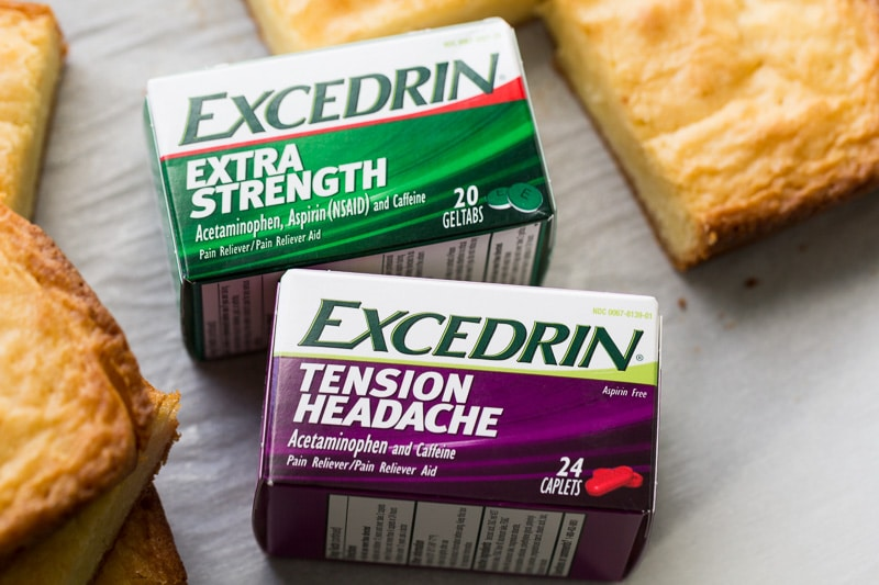 Excedrin with white chocolate brownies