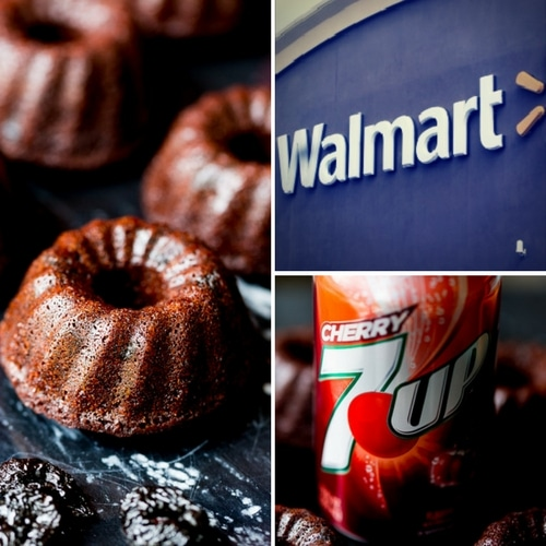 7UP Cherry with Walmart Logo and Chocolate Cherry Mini Bundt Cakes