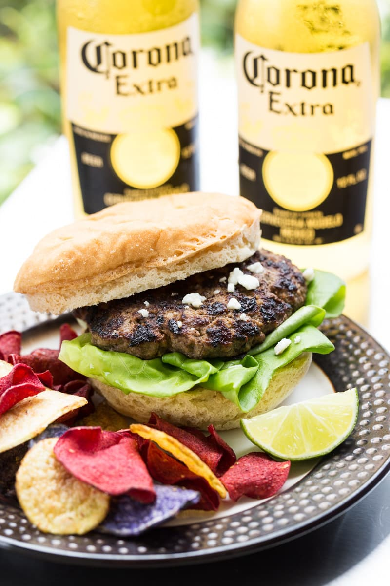 Carne Asada Mexican Burger with Corona bottles