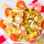 Chicago Hot Dog Potato Chip Nachos on a picnic napkin