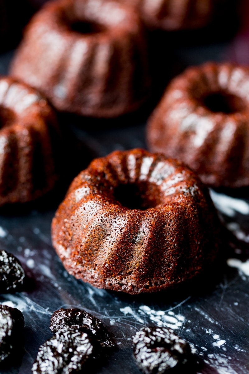 Made with pure cocoa and dried sweet cherries (soaked in a surprising ingredient to bring out the flavor), these mini bundt cakes are delicious.