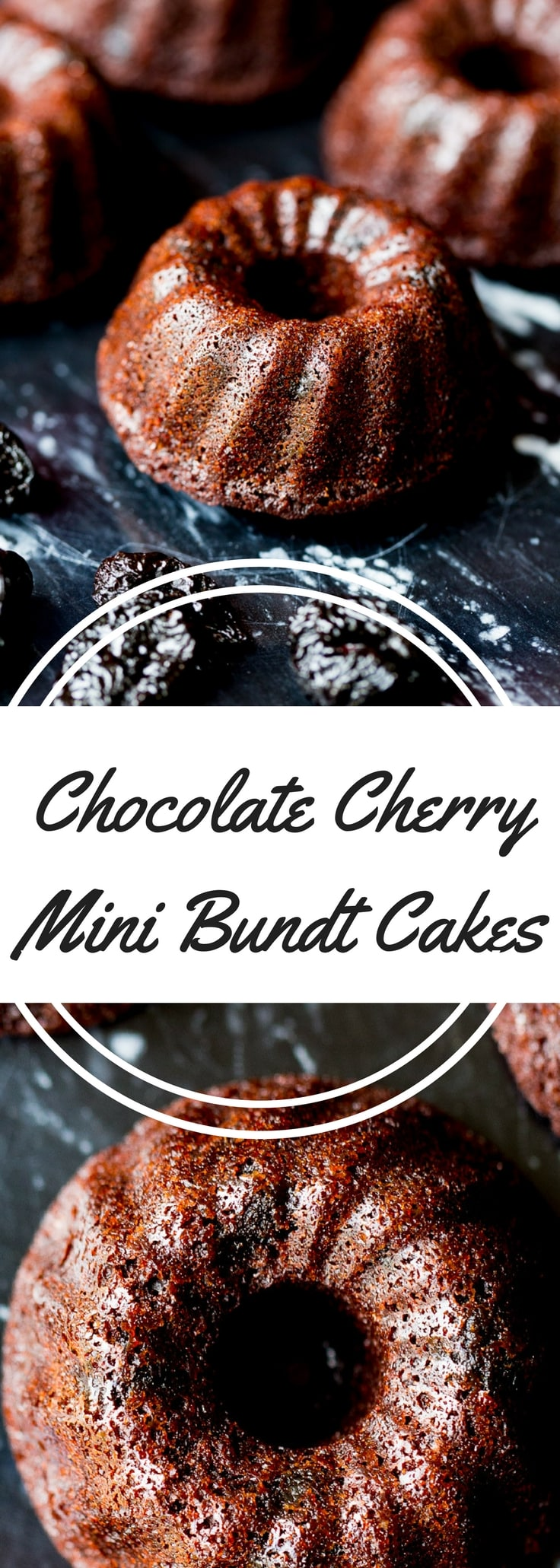 Chocolate cherry mini bundt cakes are made with pure cocoa and dried sweet cherries (soaked in a surprising ingredient to bring out the flavor).