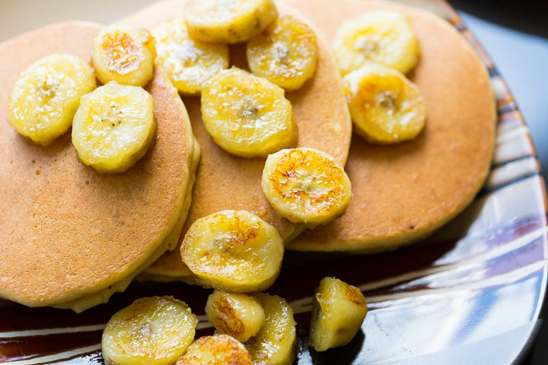 Fluffy Paleo Pancakes and Caramelized Bananas on a plate