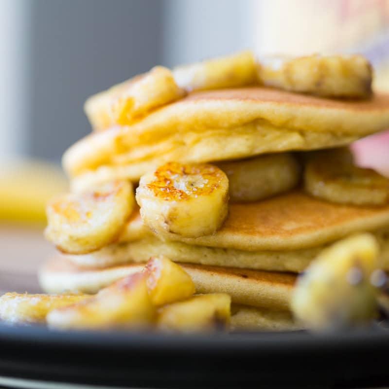 Fluffy Paleo Pancakes and Caramelized Bananas