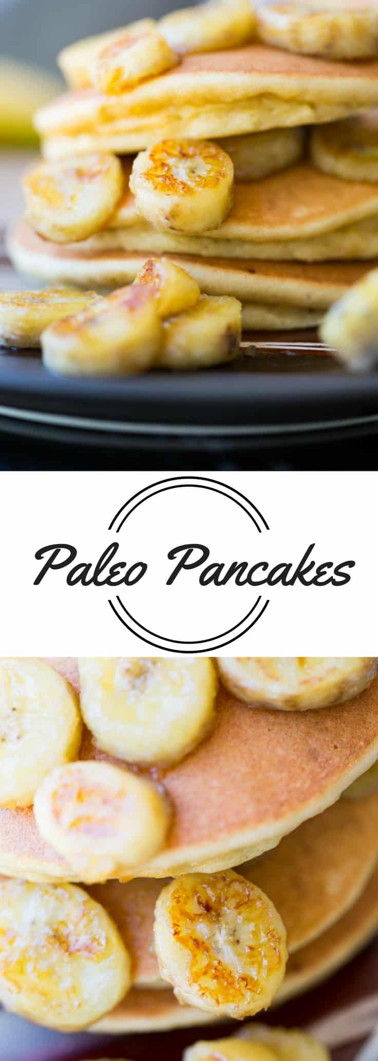 Fluffy paleo pancakes made with Bob's Red Mill Paleo Pancake & Waffle Mix and topped with sweet caramelized bananas.  Paleo never tasted so good!