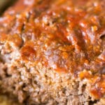 Ketchup glazed sliced meatloaf made without eggs