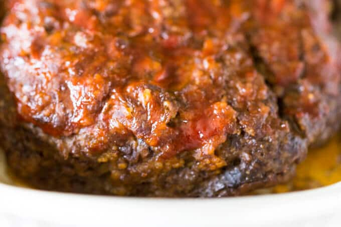 Closeup of the outside of meatloaf