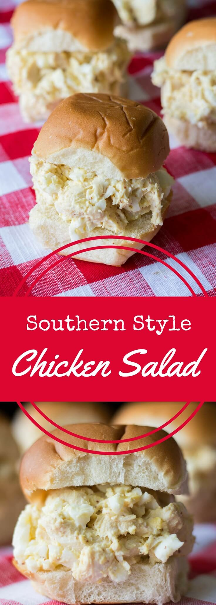 Southern Chicken Salad Sandwiches are made with chicken, mayo, coarse ground mustard, and eggs for a rich and satisfying flavor.