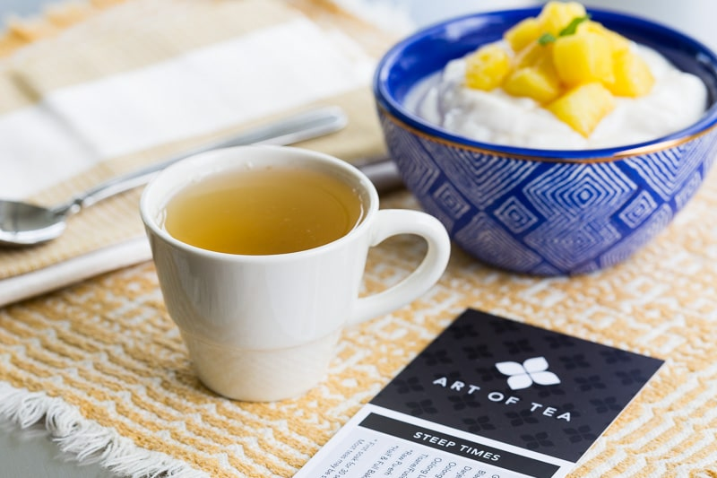 Tea with Yogurt and Pineapple Sauce