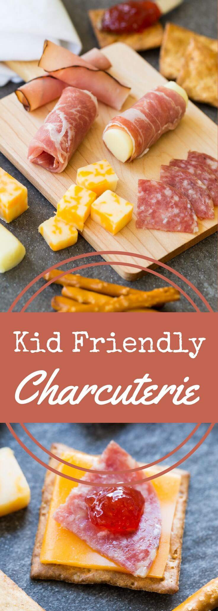 Pack a charcuterie plate in a lunch box with these kid-friendly options.  Pair meats, cheeses, spreads, and crackers for your little one to enjoy.