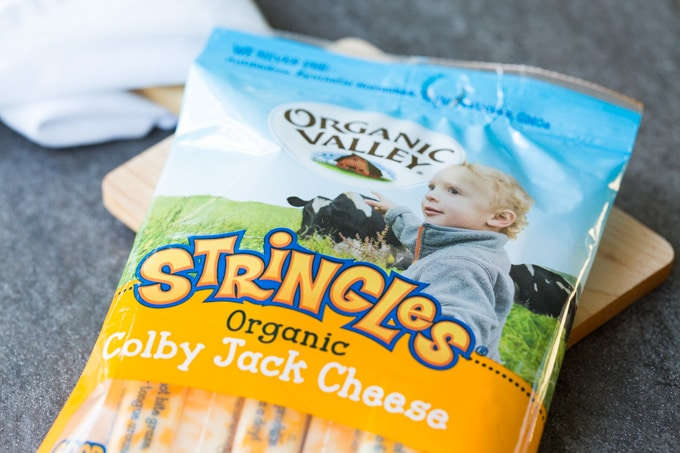 Package of Organic Valley Colby Jack Stringles