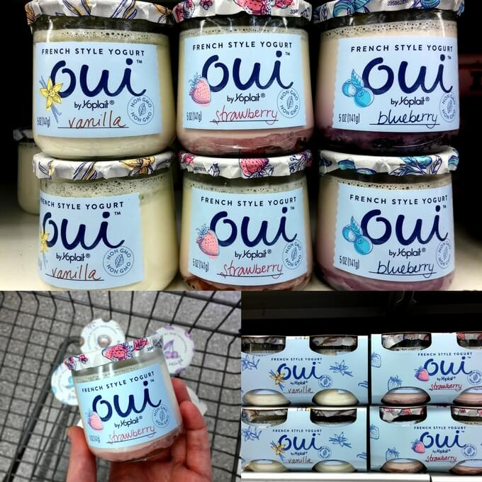 Oui by Yoplait French Yogurt flavors on the shelf at Walmart