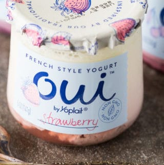 Front label of Oui by Yoplait French yogurt in strawberry flavor