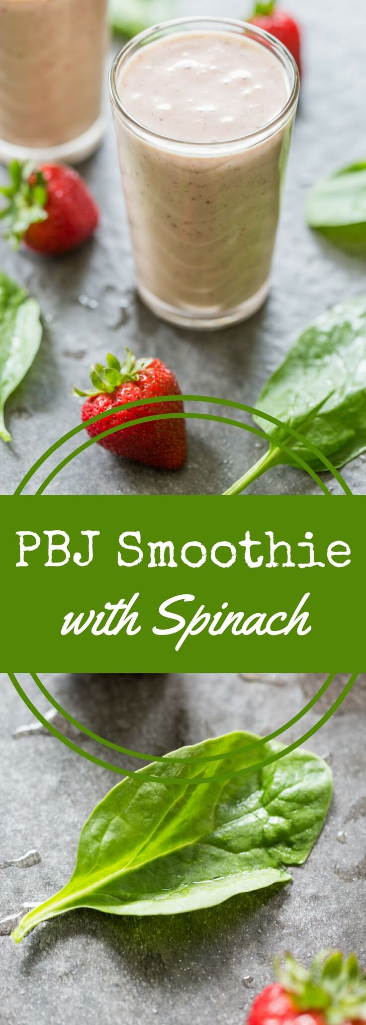 Power up your smoothie with peanut butter, jelly, bananas... and spinach!  This PBJ Spinach Banana smoothie is healthy and it tastes FANTASTIC.