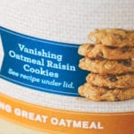 Quaker Oatmeal cookies pictured on the side of the Quaker Oats container
