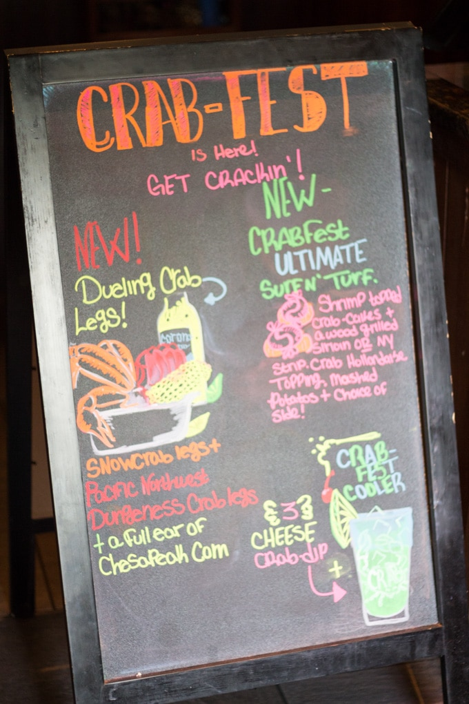 Red Lobster Crabfest Chalkboard with drawings and menu