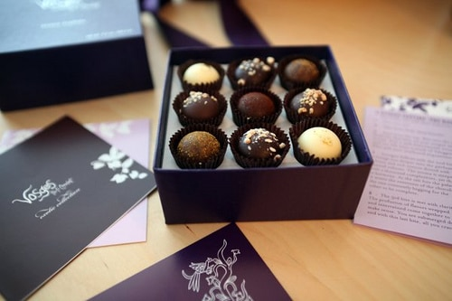Vosges Chocolate Truffles and box with inserts