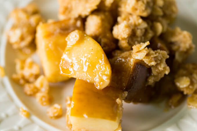 Close up of gluten free apple crisp