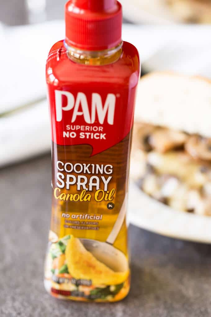 Pam Spray Pump next to stuffed turkey burger