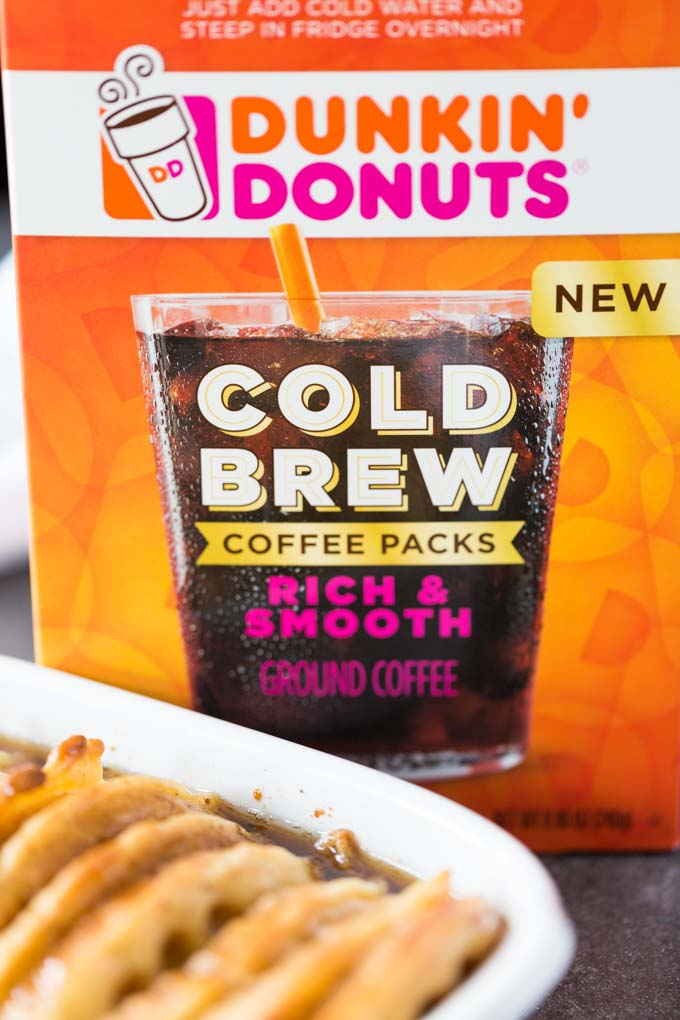 Dunkin Donuts Cold Brew with Overnight Waffle French Toast Casserole