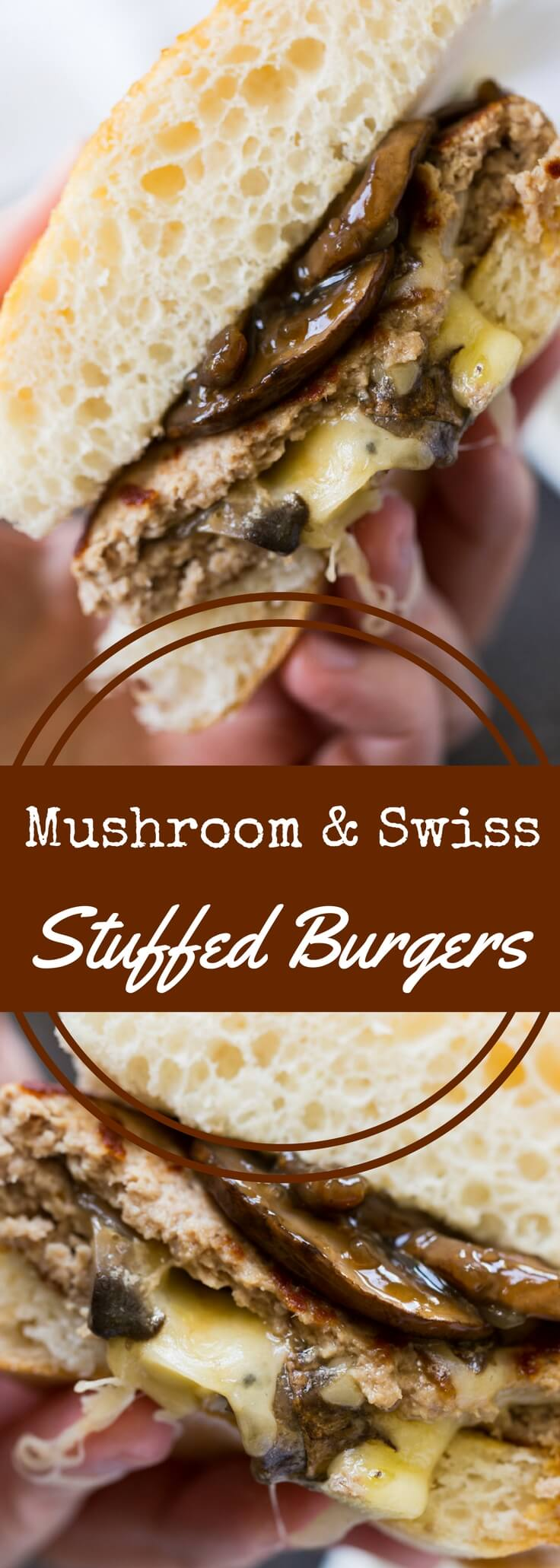 Make a classic mushroom and swiss burger using ground turkey!  These stuffed turkey burgers are packed with portobello mushrooms and melted swiss cheese.