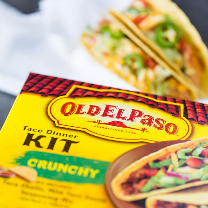 Old El Paso Taco Dinner Kit with salmon tacos