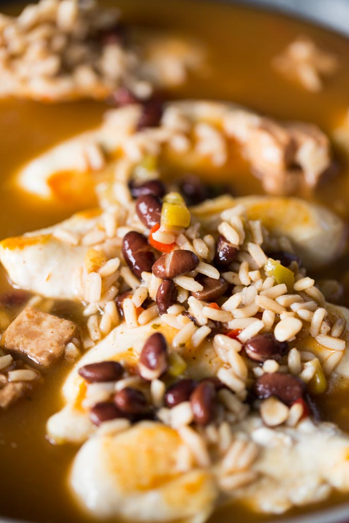 Sauteed chicken tenderloins covered in Southwestern soup