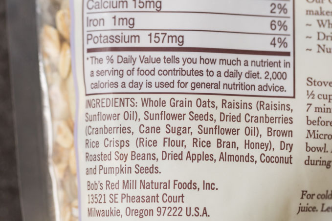 Muesli ingredient list on the back of a muesli package