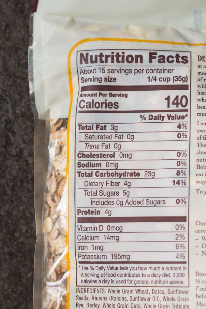 Muesli nutrition information facts on a muesli package