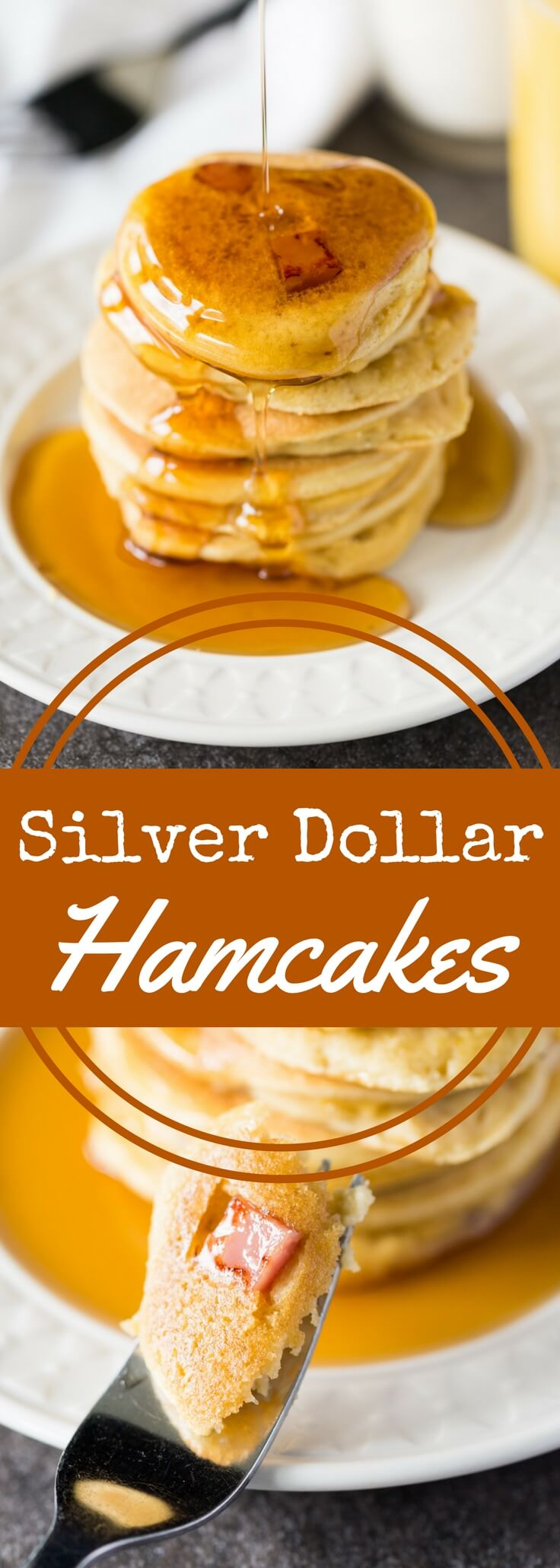 Silver dollar hamcakes are tiny pancakes with ham! These miniature sweet and savory pancakes are equally delicious for breakfast or dinner.