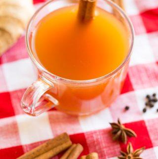 Chai Spiced Hot Apple Cider Tea with a cinnamon stick garnish