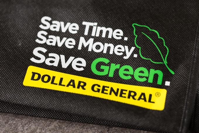 Black Dollar General reusable bag logo