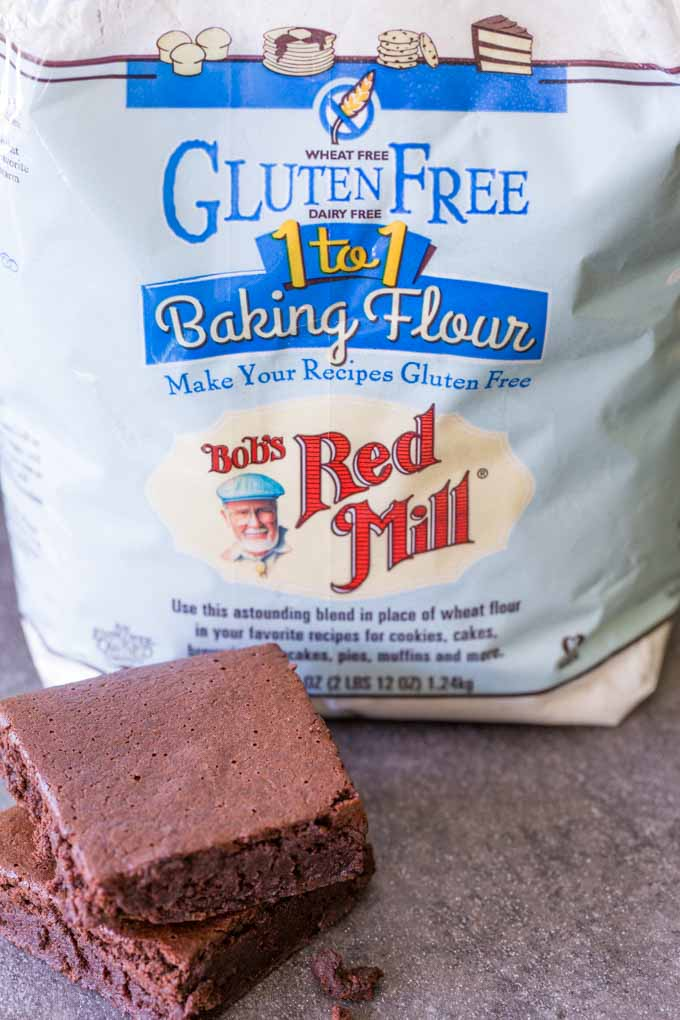 Gluten free flour next to brownies