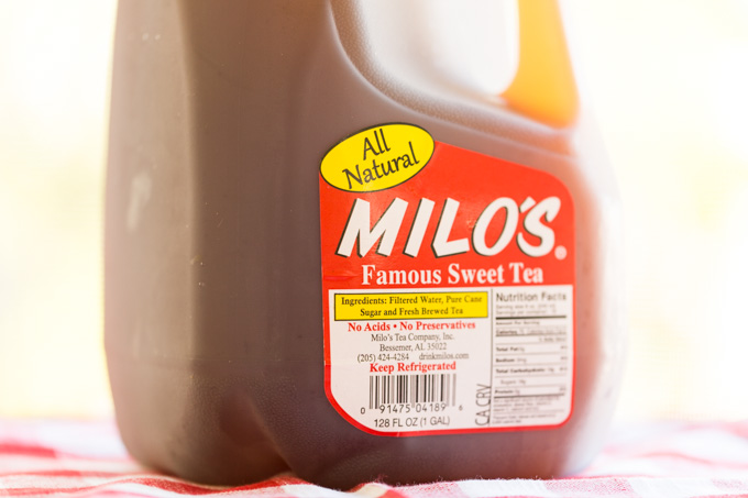 Gallon of Milo's Sweet Tea in the sun