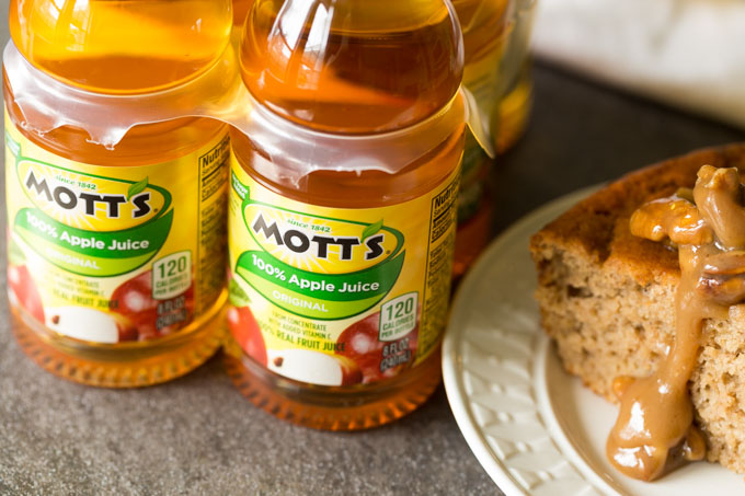 Mott's Apple Juice next to applesauce cake