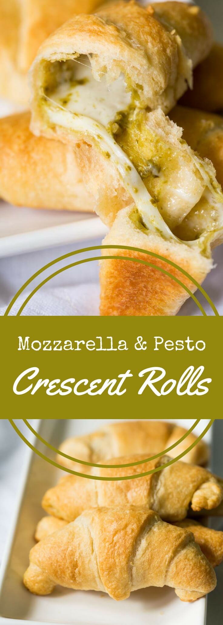 These mozzarella and pesto stuffed crescent rolls are easy to make! Just fill, roll, and bake for a tasty, cheesy bread to accompany your meal.