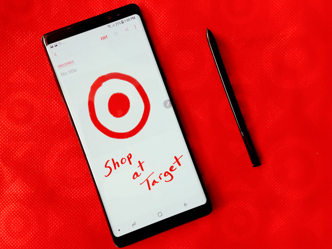 Samsung Galaxy Note 8 with S Pen and Target logo on screen