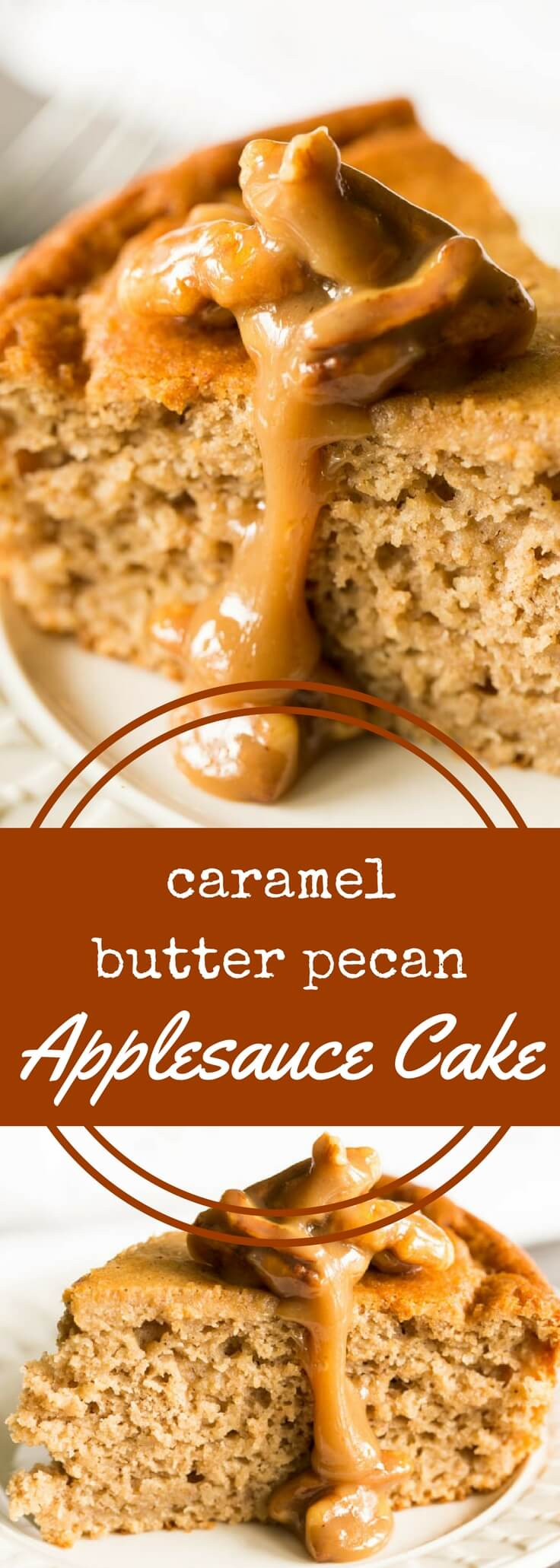 This spiced applesauce cake topped with gooey caramel butter pecan sauce is a must-have for fall and winter. It's delicious and completely gluten free.