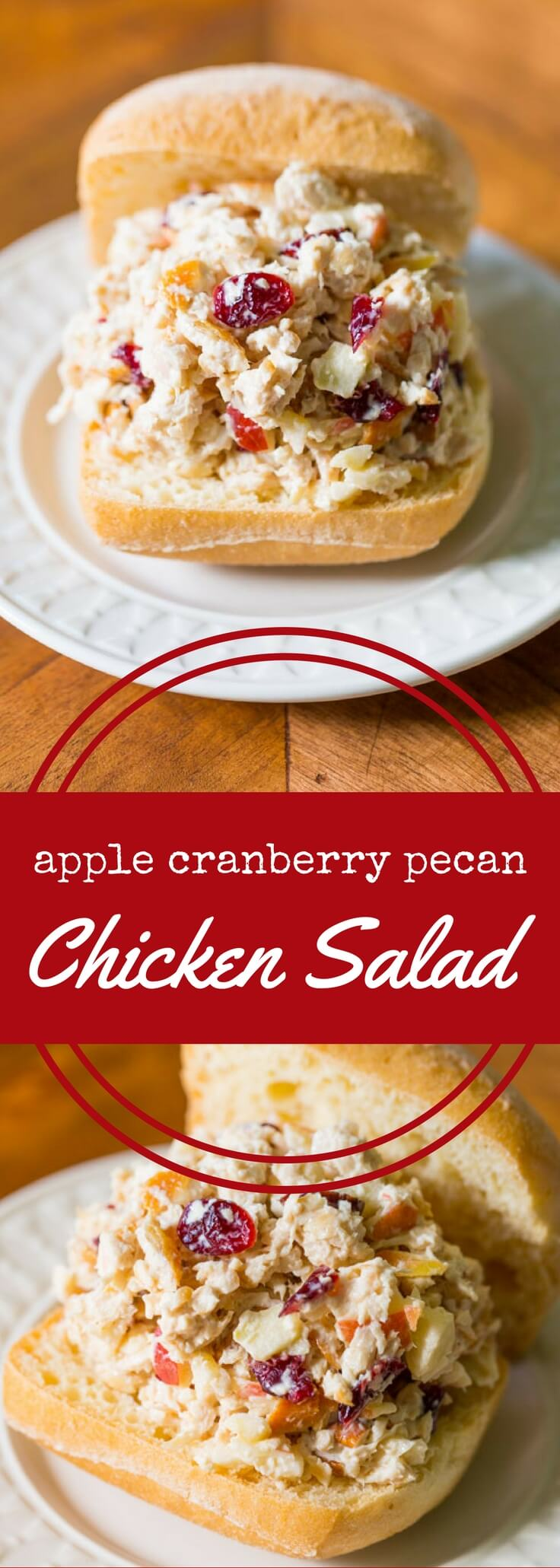 Classic chicken salad with apples, cranberries, and pecans, in mayonnaise. Simple ingredients and easy to follow instructions. Serve on sandwiches or salad!