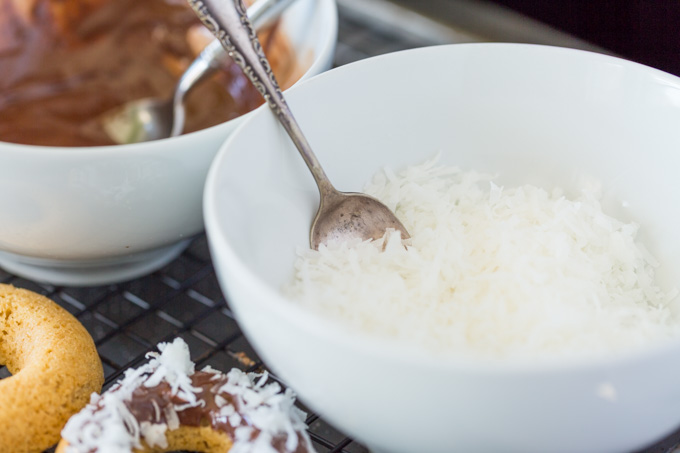 Bowl of shredded coconut for topping doughnuts