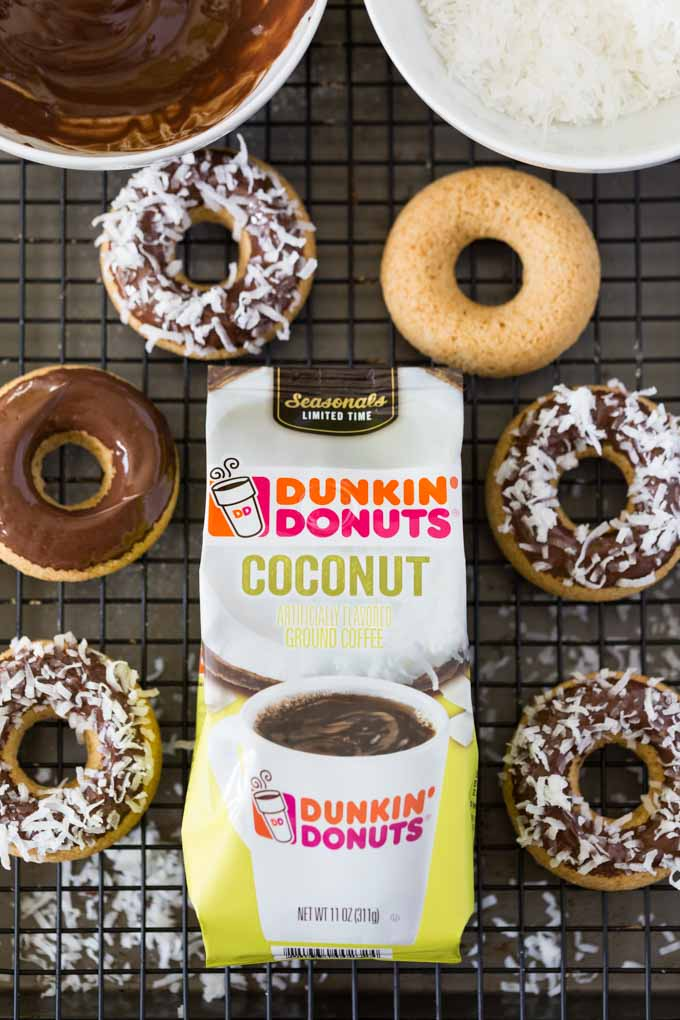 Dunkin Donuts Coconut Coffee with gluten free doughnuts