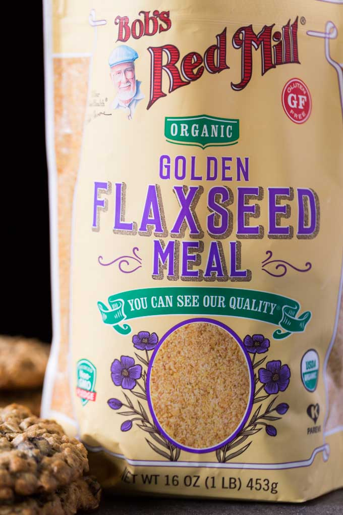 Bag of Bob's Red Mill organic golden flaxseed meal with breakfast cookies