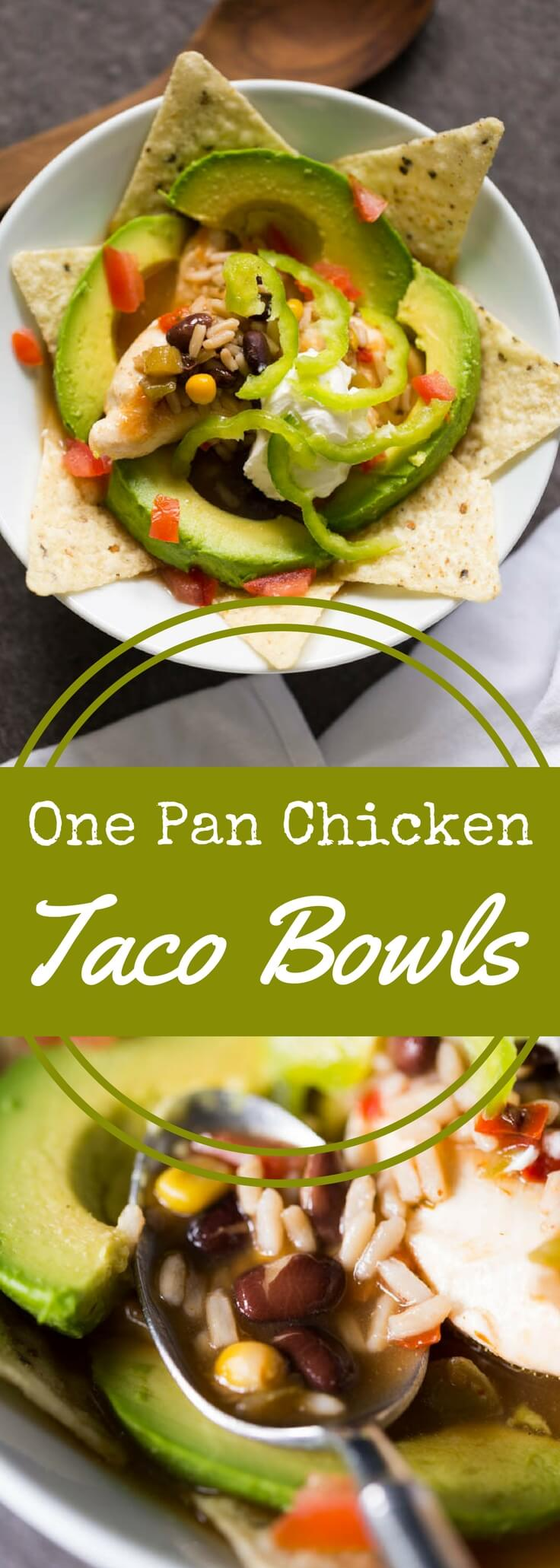 Make chicken taco bowls quickly in one pan when you use this secret ingredient.  Top with your favorite taco fixings for a complete meal!