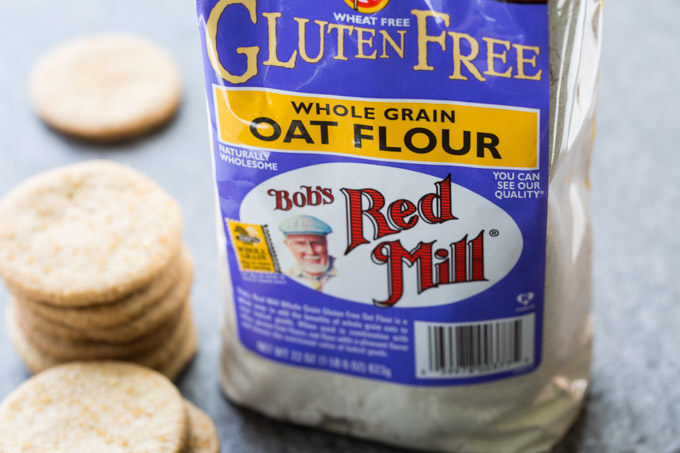 Bob's Red Mill Oat Flour label next to shortbread cookies