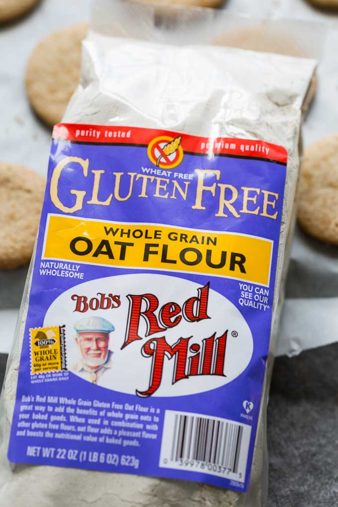 Bag of Bob's Red Mill Oat Flour next to gluten free shortbread