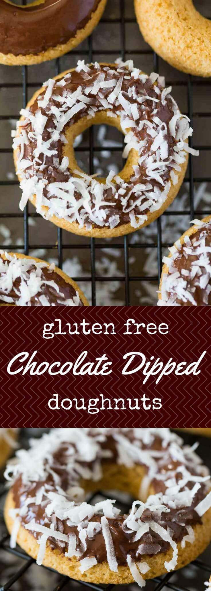 Soft and pillowy gluten free doughnuts are oven baked and dipped in a luscious chocolate glaze.  Enjoy their chocolate-covered glory, or take it to the next level with your favorite toppings (like coconut).