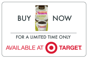 Dunkin Donuts coconut coffee package with Target bullseye logo and buy it now text