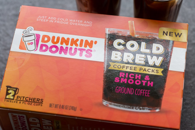 Box of Dunkin Donuts cold brew coffee on a countertop