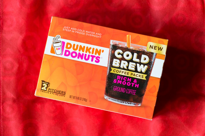 Box of Dunkin Donuts cold brew coffee on a red Target bag