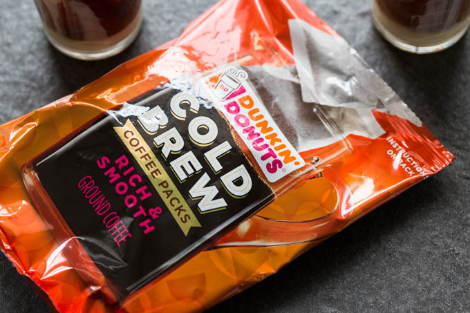 Package of Dunkin Donuts cold brew coffee filter packs